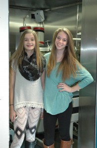 Audra Barney (left, age 14) and Raegan Hardy (right, age 15) pose for a picture following their lung and whole body count at the CEMRC ID lab.  Photo courtesy of the CEMRC.